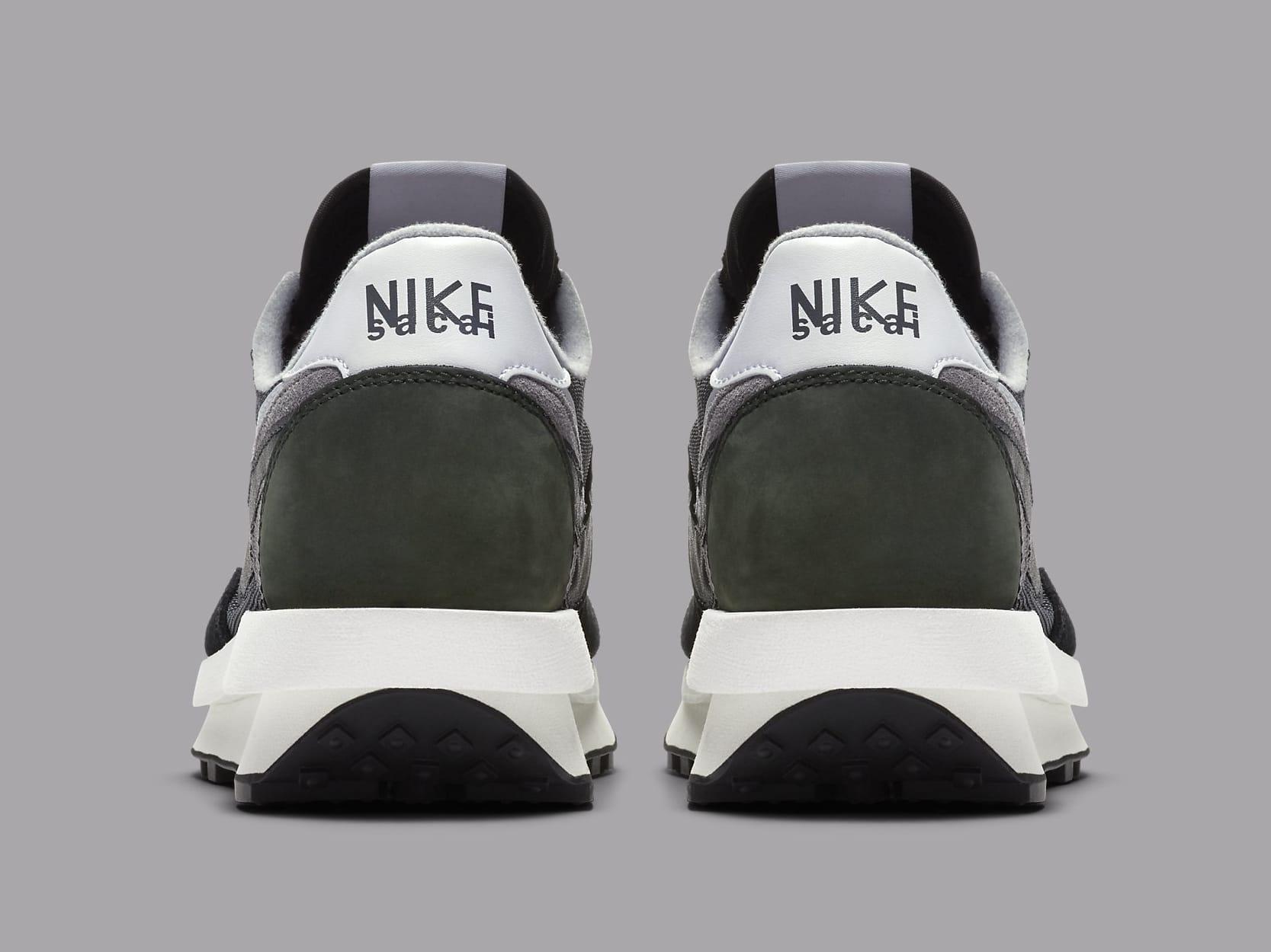 Sacai x Nike LDWaffle Black Anthracite Release Date BV0073-001 Heel