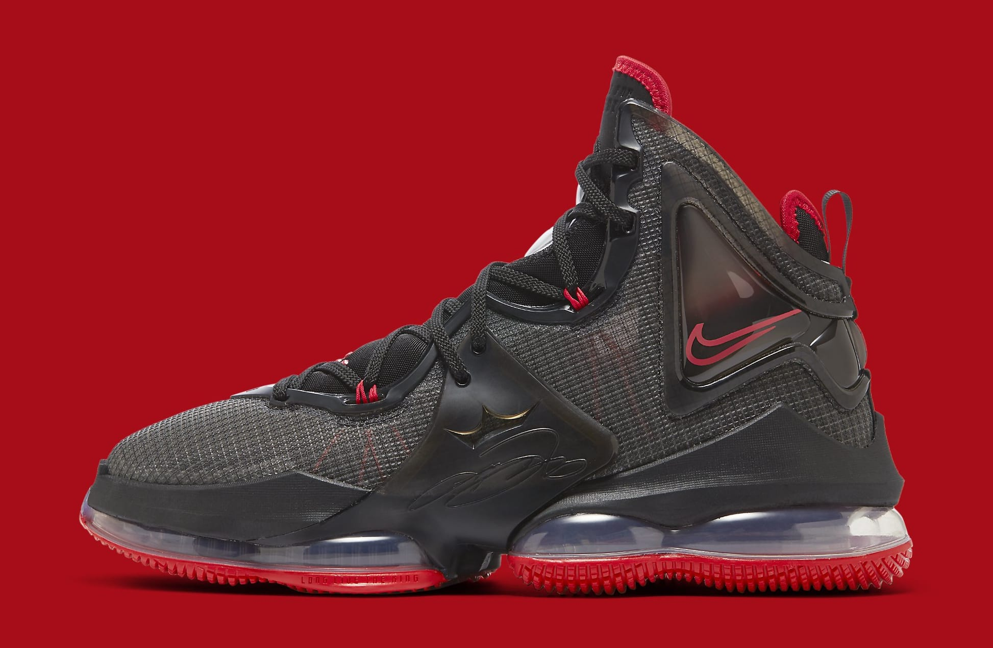 Nike LeBron 19 'Black/Red' DC9340-001 Lateral