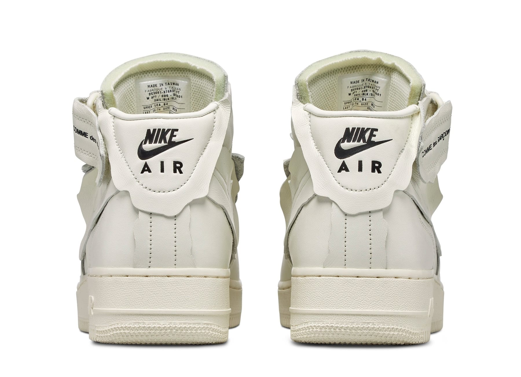 Comme Des Garcons x Nike Air Force 1 Mid 'White' F/W 20 Heel