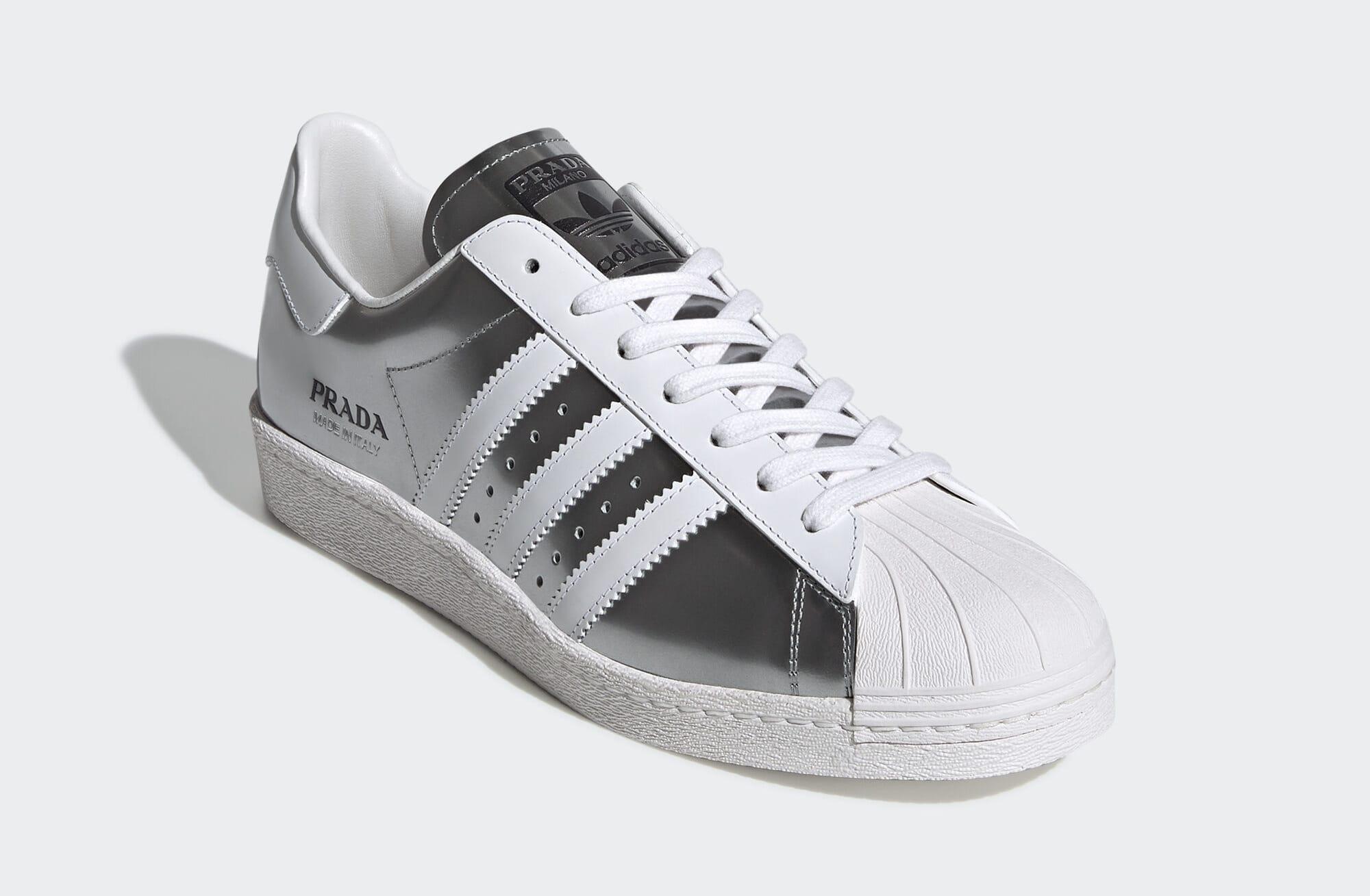 Prada x Adidas Superstar 'Silver Metallic' FX4546 (Front)