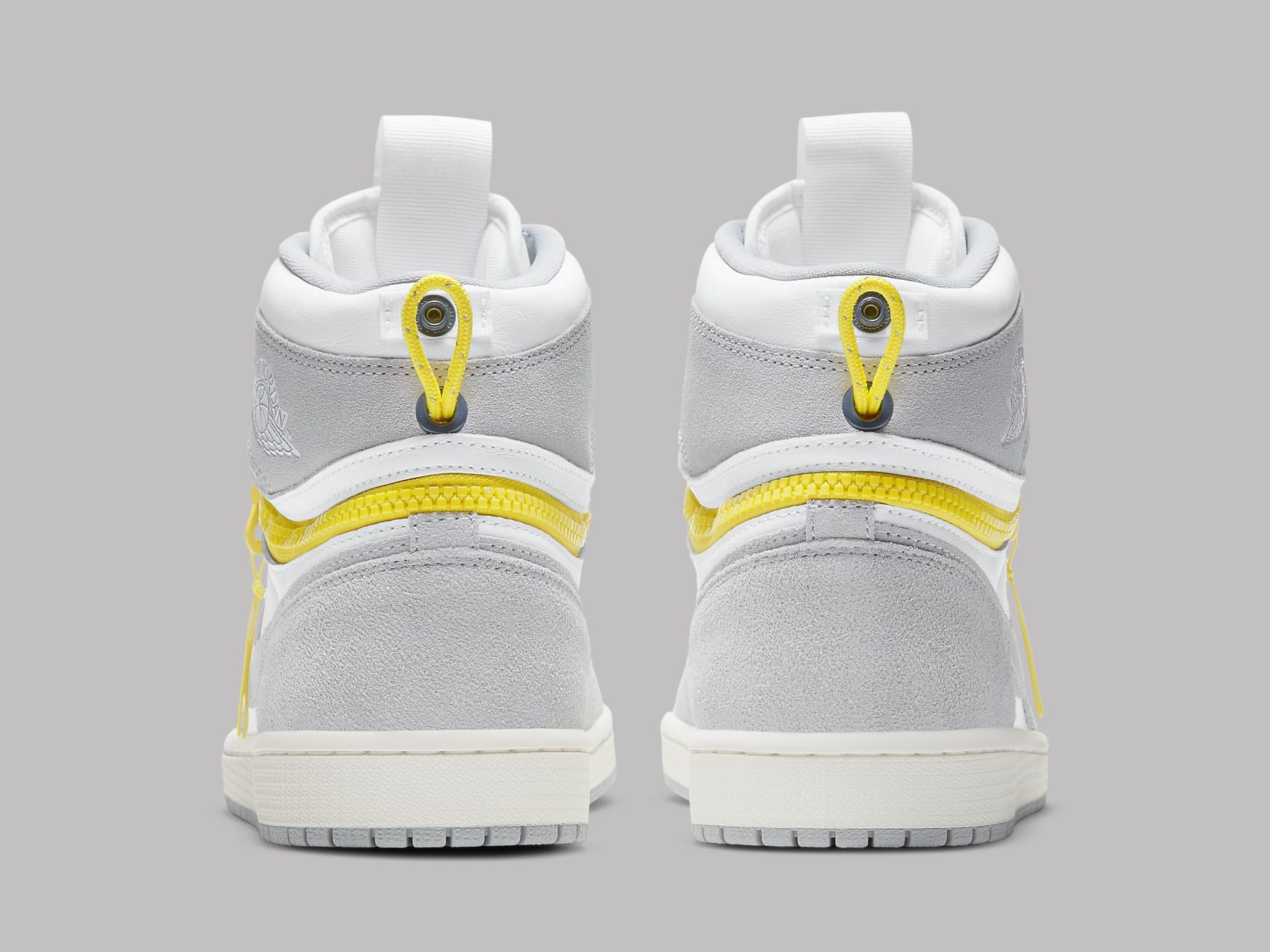 Air Jordan 1 High Switch White Light Smoke Grey Sail Tour Yellow Release Date CW6576-100 Heel