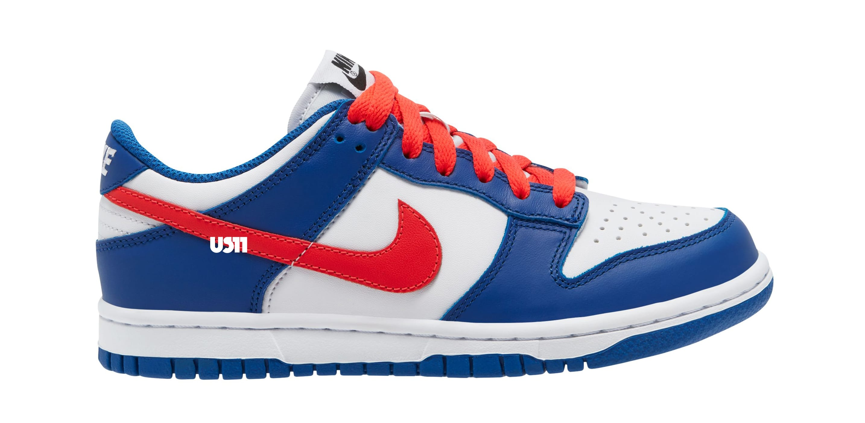 Nike Dunk Low GS White/Blue/Red Lateral