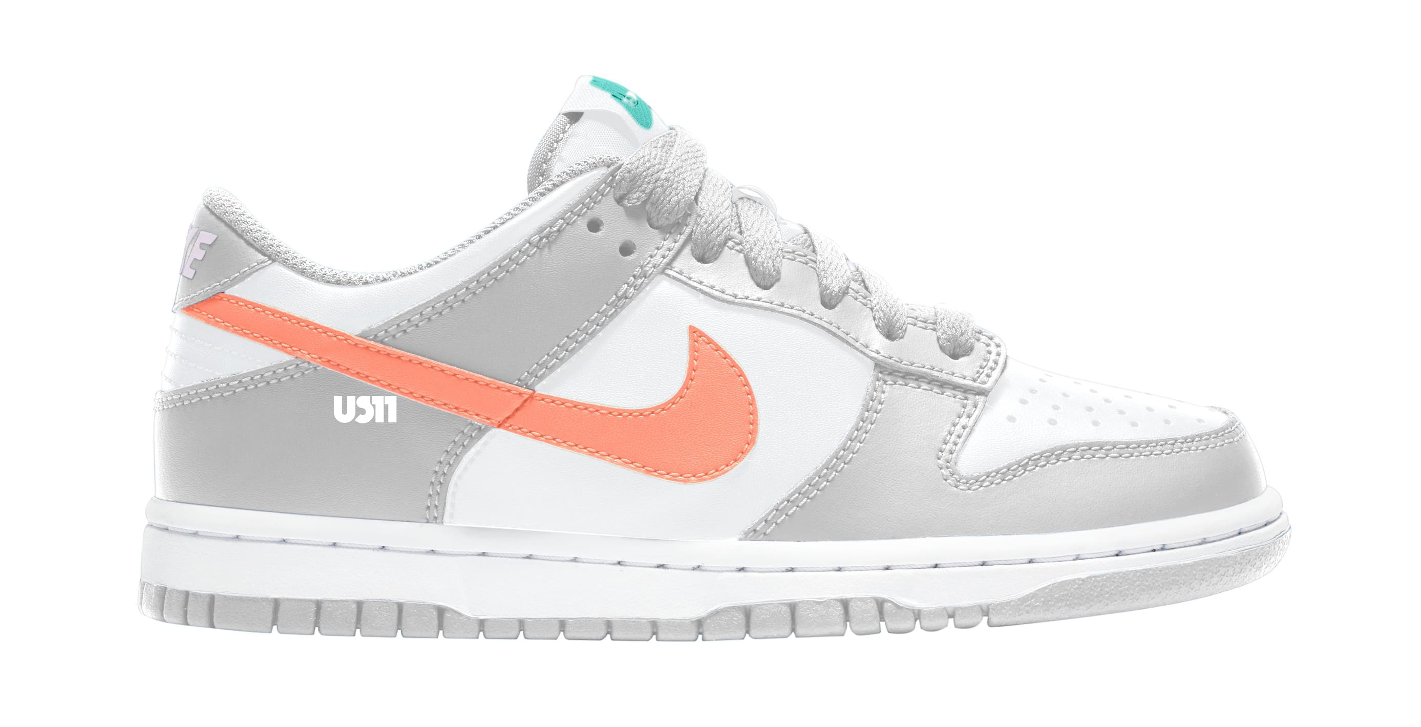 Nike Dunk Low GS White/Grey/Orange Lateral