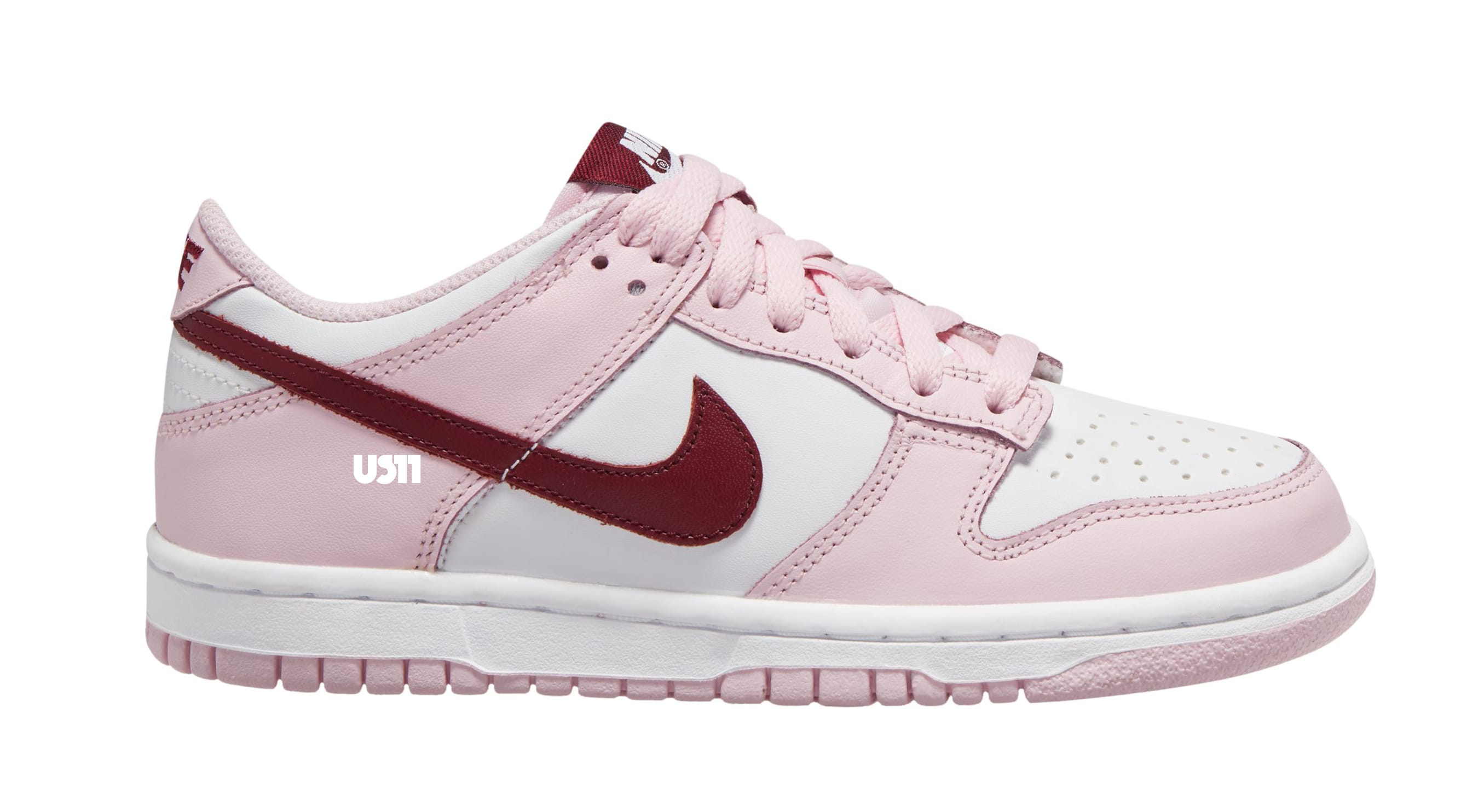 Nike Dunk Low GS White/Pink/Red Lateral