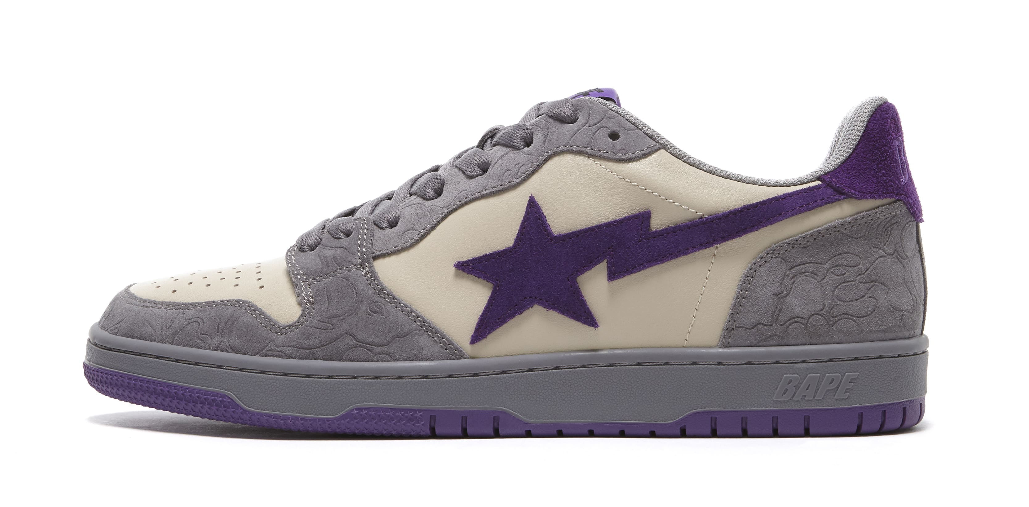 Bape Court Sta Mist Grey and Royal Purple Lateral