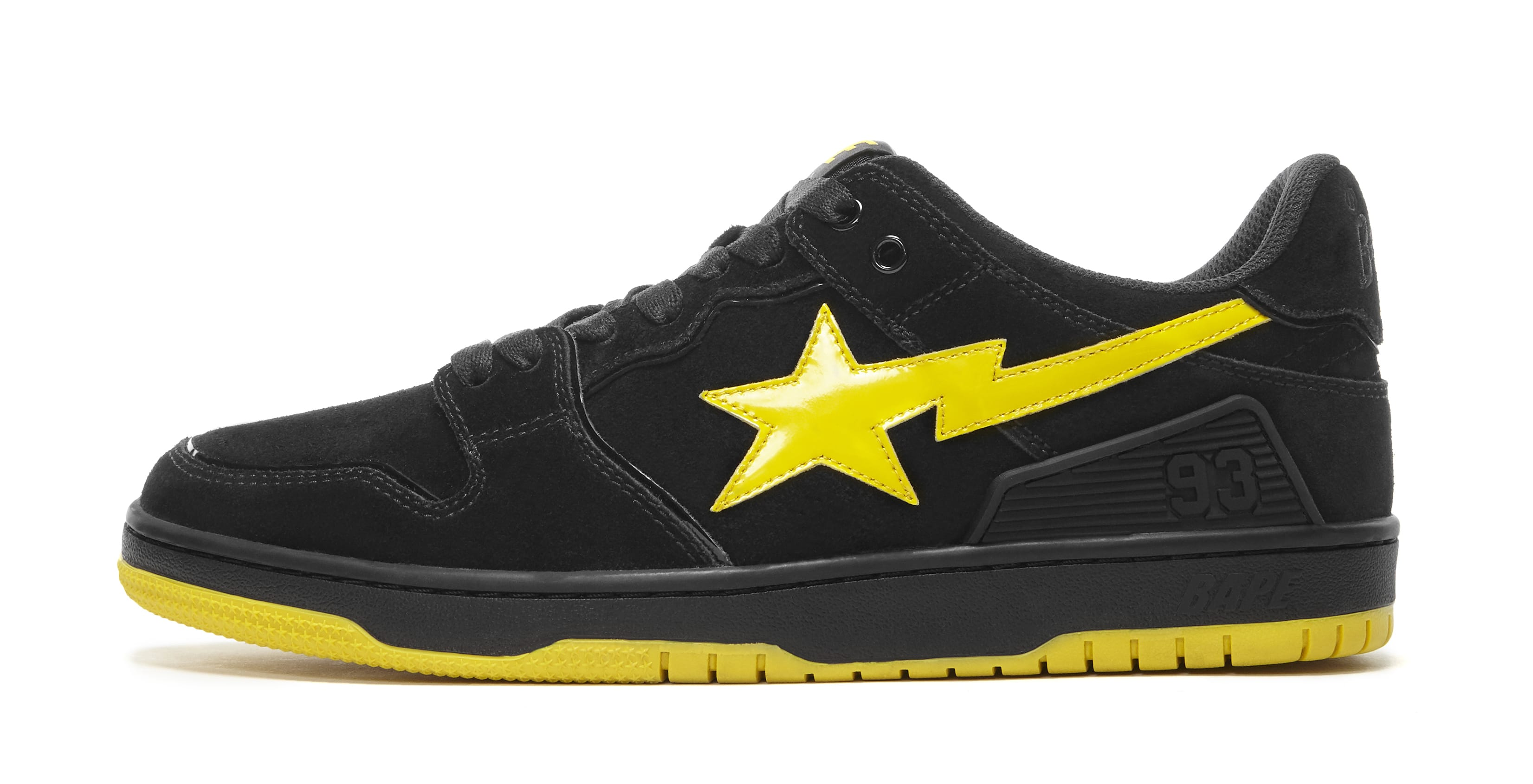 Bape Sk8 Sta Black and Electric Yellow Lateral