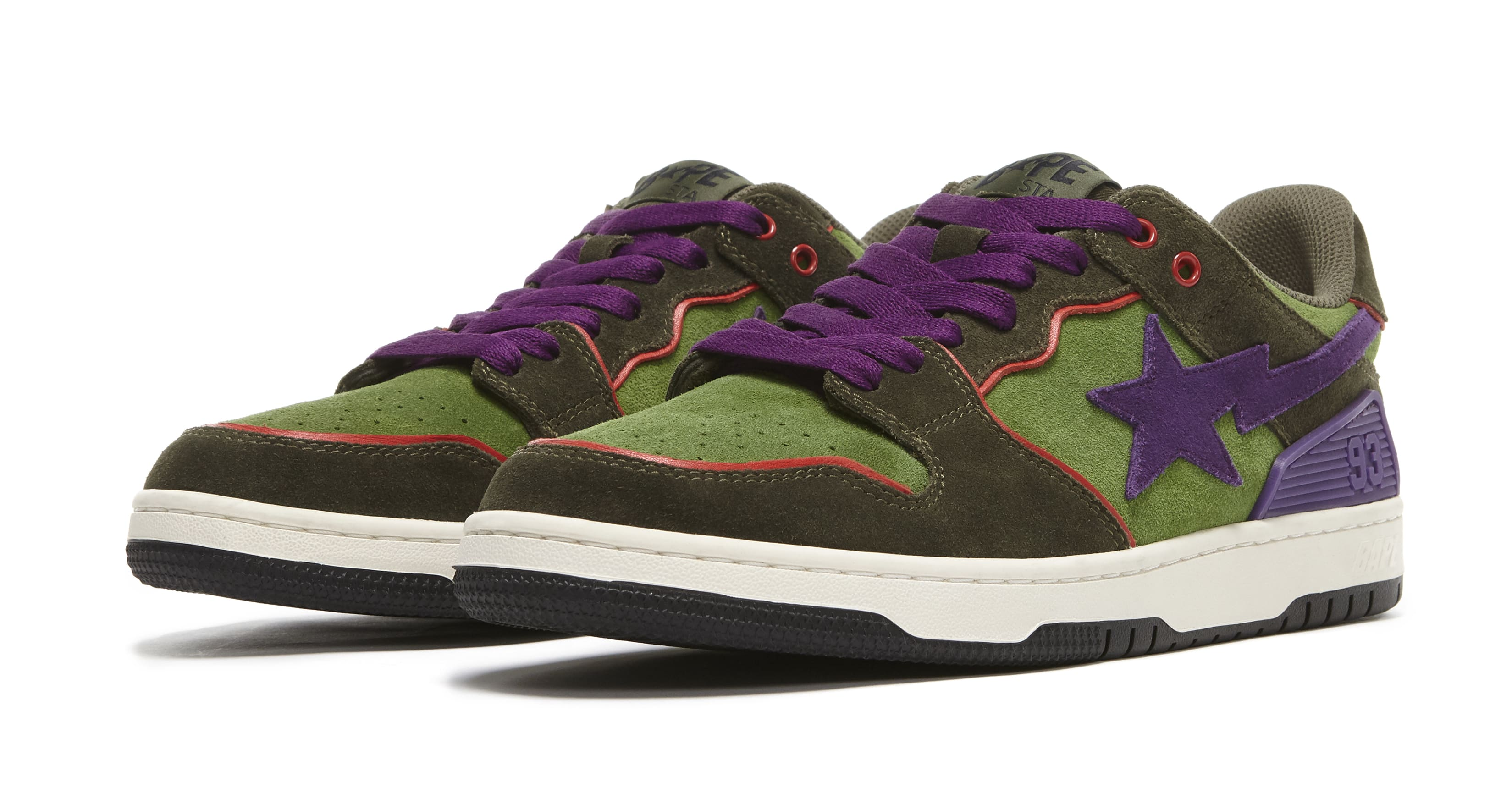 Bape Sk8 Sta Dark Purple and Green Pair