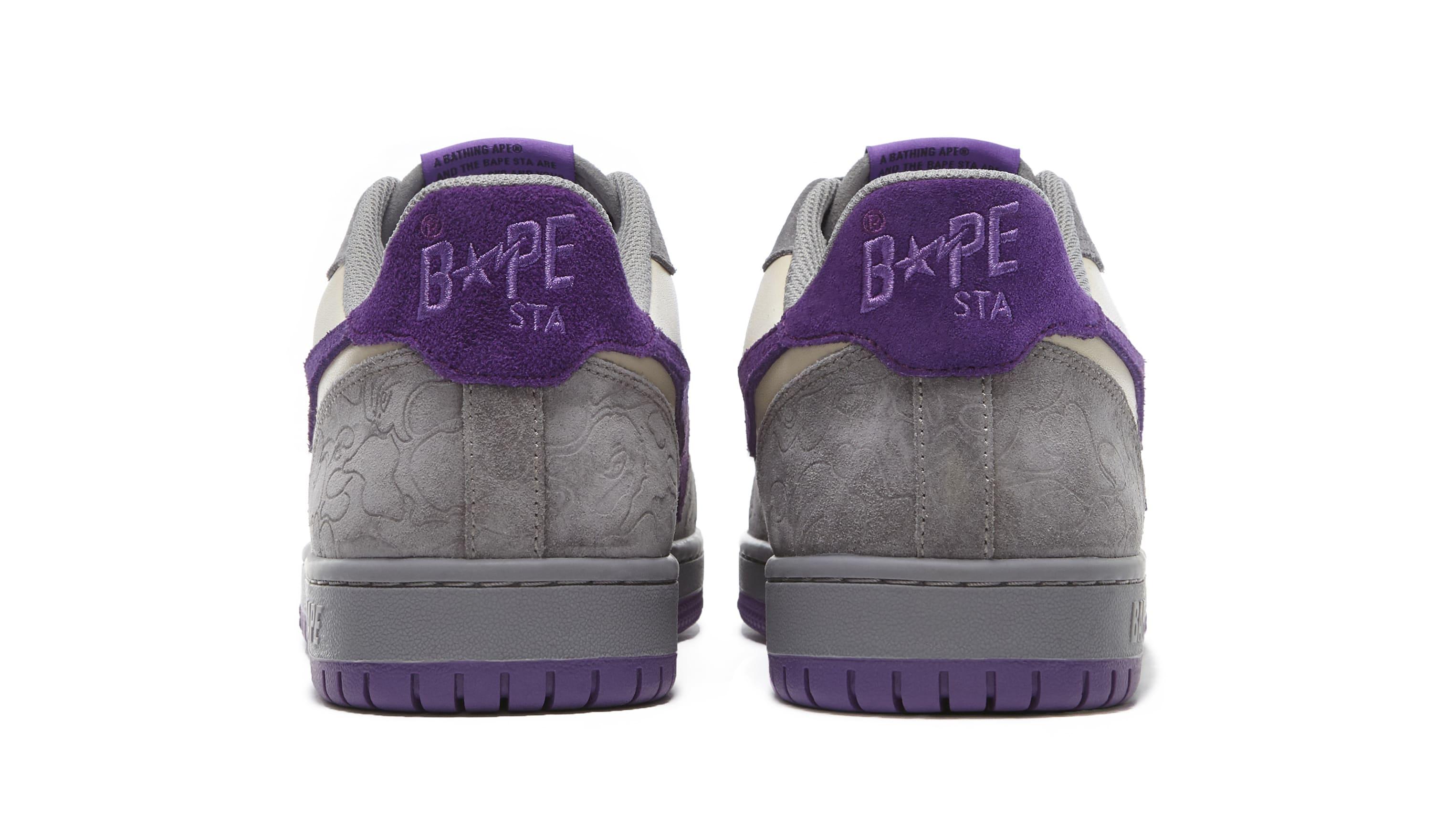 Bape Court Sta Mist Grey and Royal Purple Heel