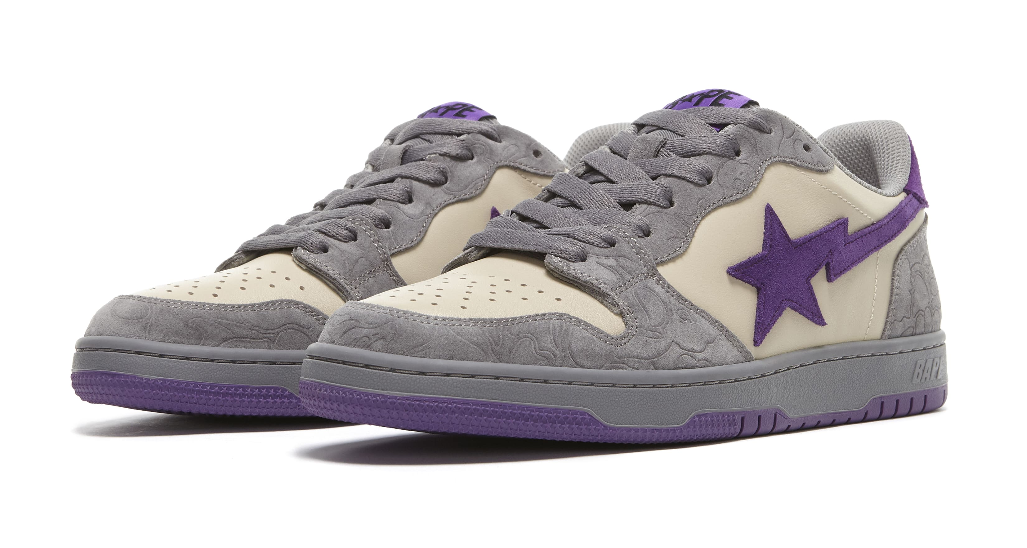 Bape Court Sta Mist Grey and Royal Purple Pair
