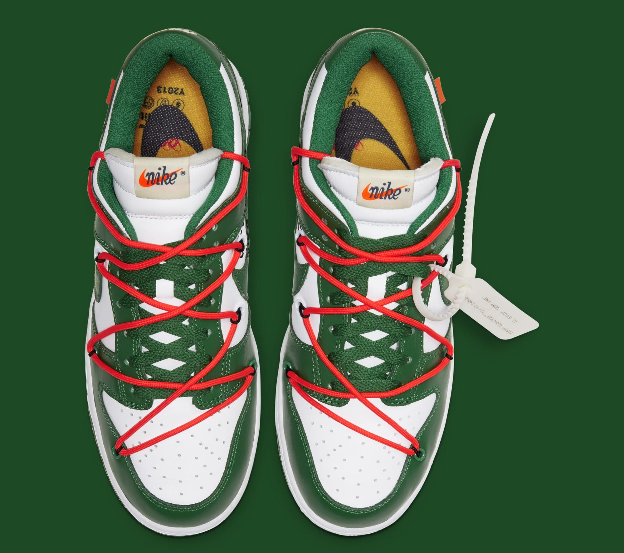 Off-White x Nike Dunk Low 'White/Pine Green' CT0856-100 (Top)