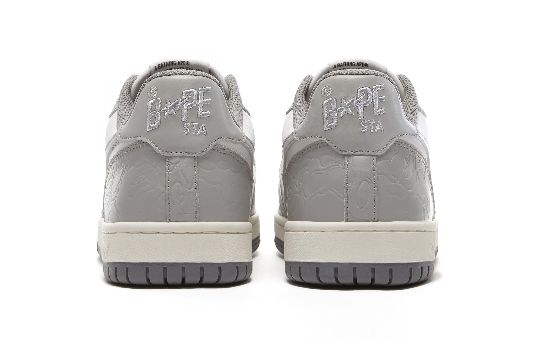 Bape Court Sta Light Grey and Cream Heel