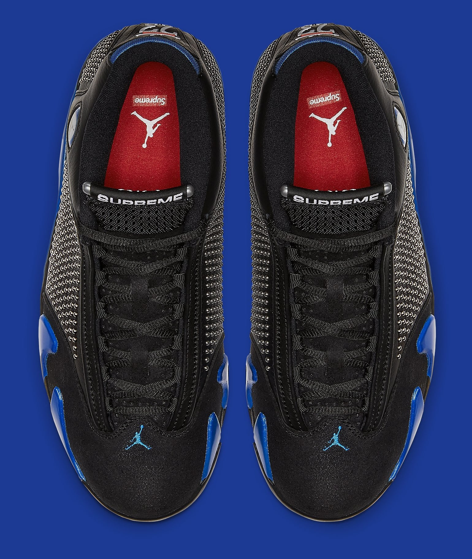 Supreme x Air Jordan 14 'Black/Game Royal' BV7630-004 Top