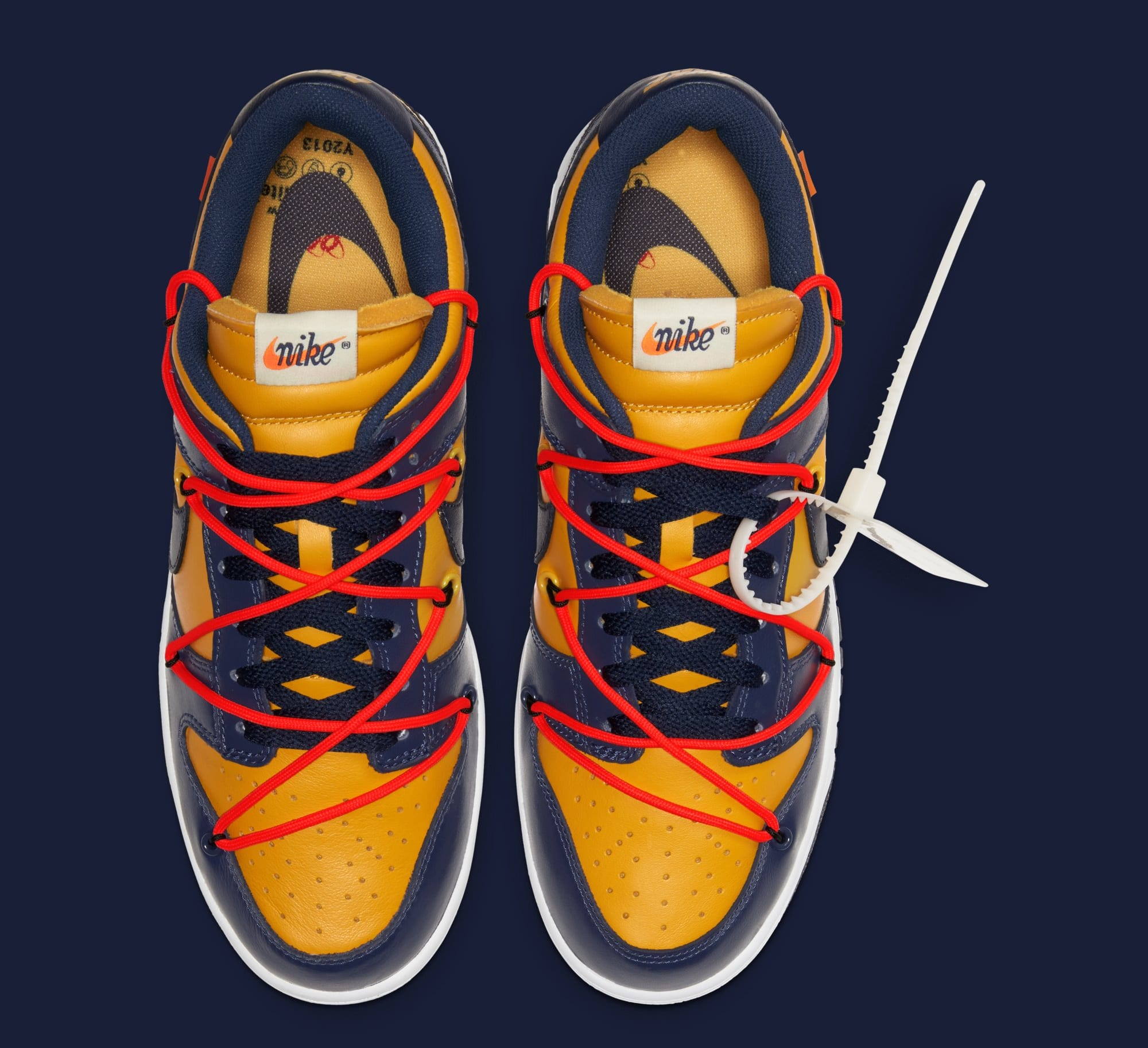 Off-White x Nike Dunk Low 'University Gold/White/Midnight Navy' CT0856-700 (Top)