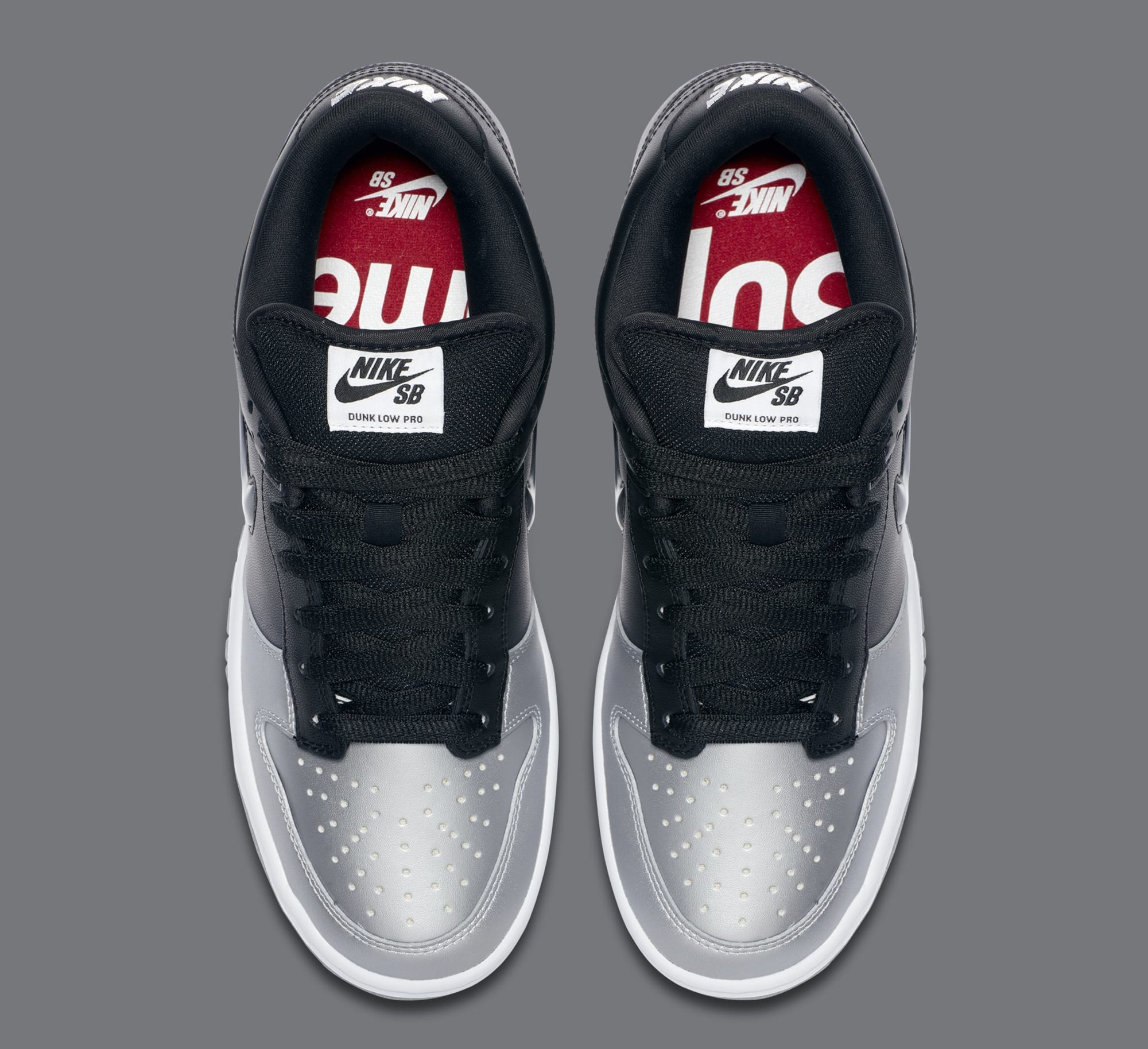 Supreme x Nike SB Dunk Low 'Metallic Silver/Metallic Silver/Black' CK3480-001 (Top)