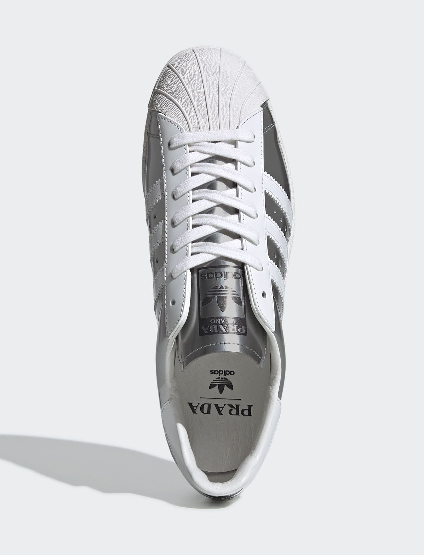 Prada x Adidas Superstar 'Silver Metallic' FX4546 (Top)