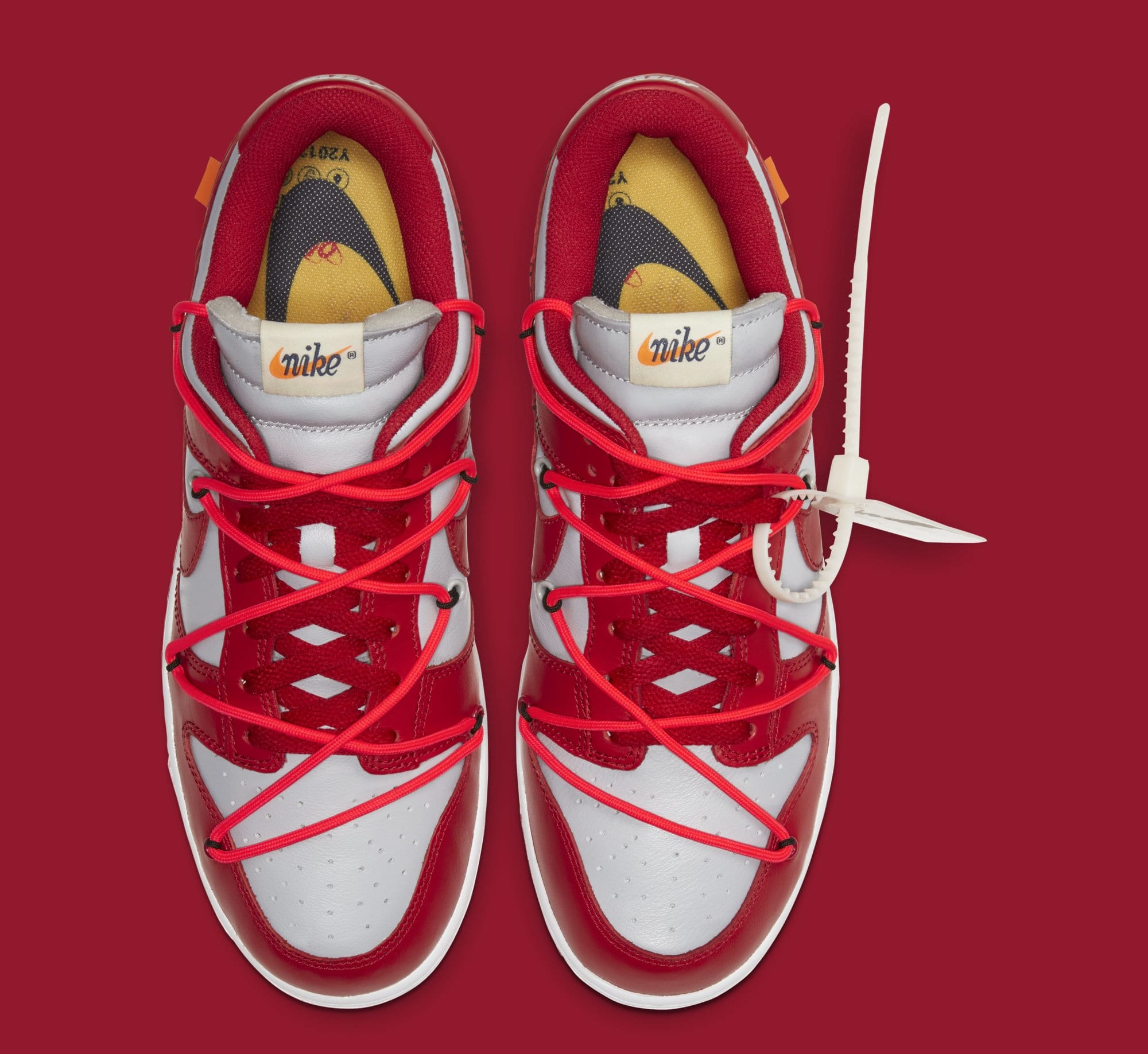 Off-White x Nike Dunk Low 'University Red/Wolf Grey' CT0856-600 (Top)