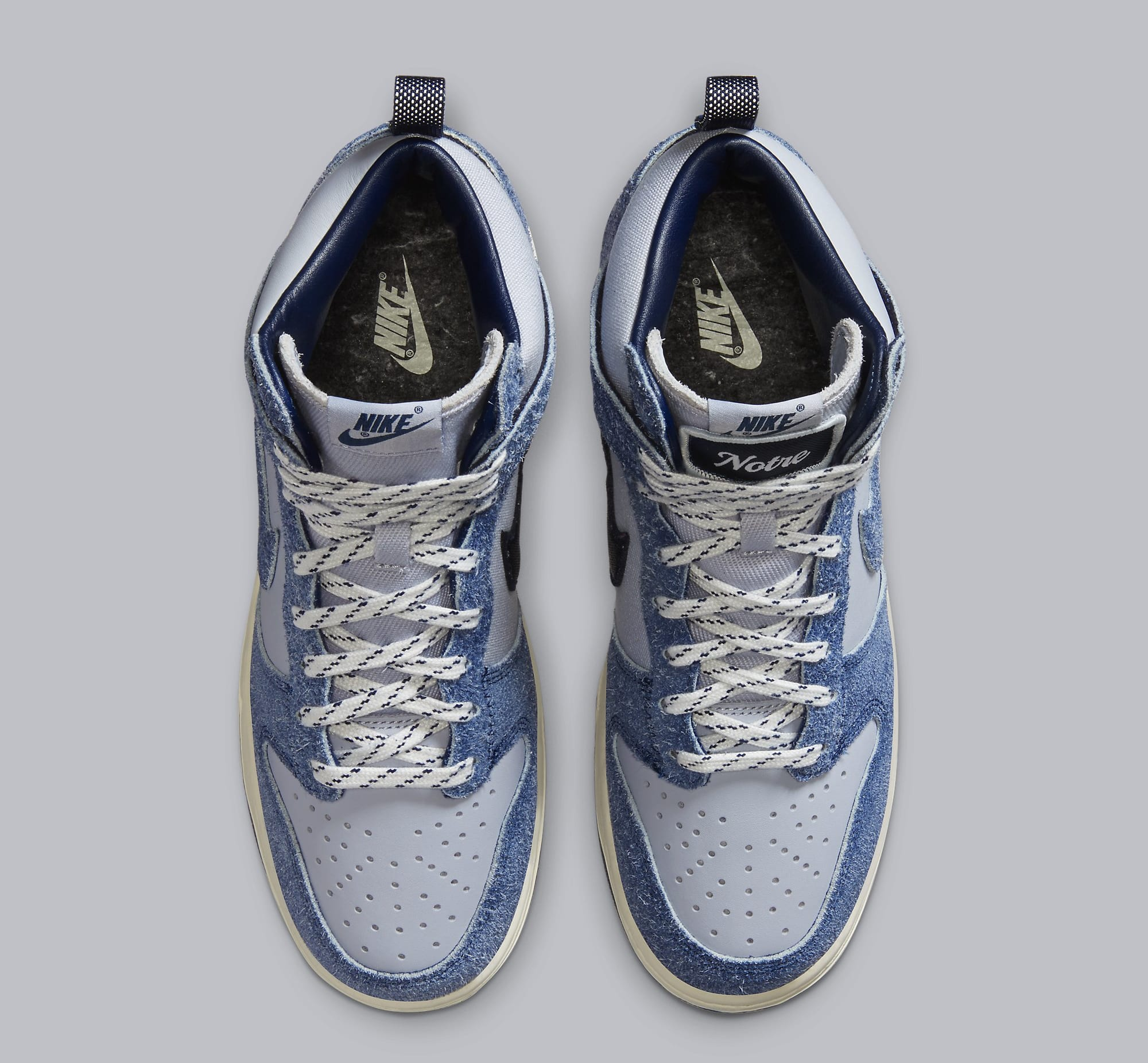 Notre x Nike Dunk High 'Pearl White/Blue Void/Grand Purple' CW3092-400 (Top)