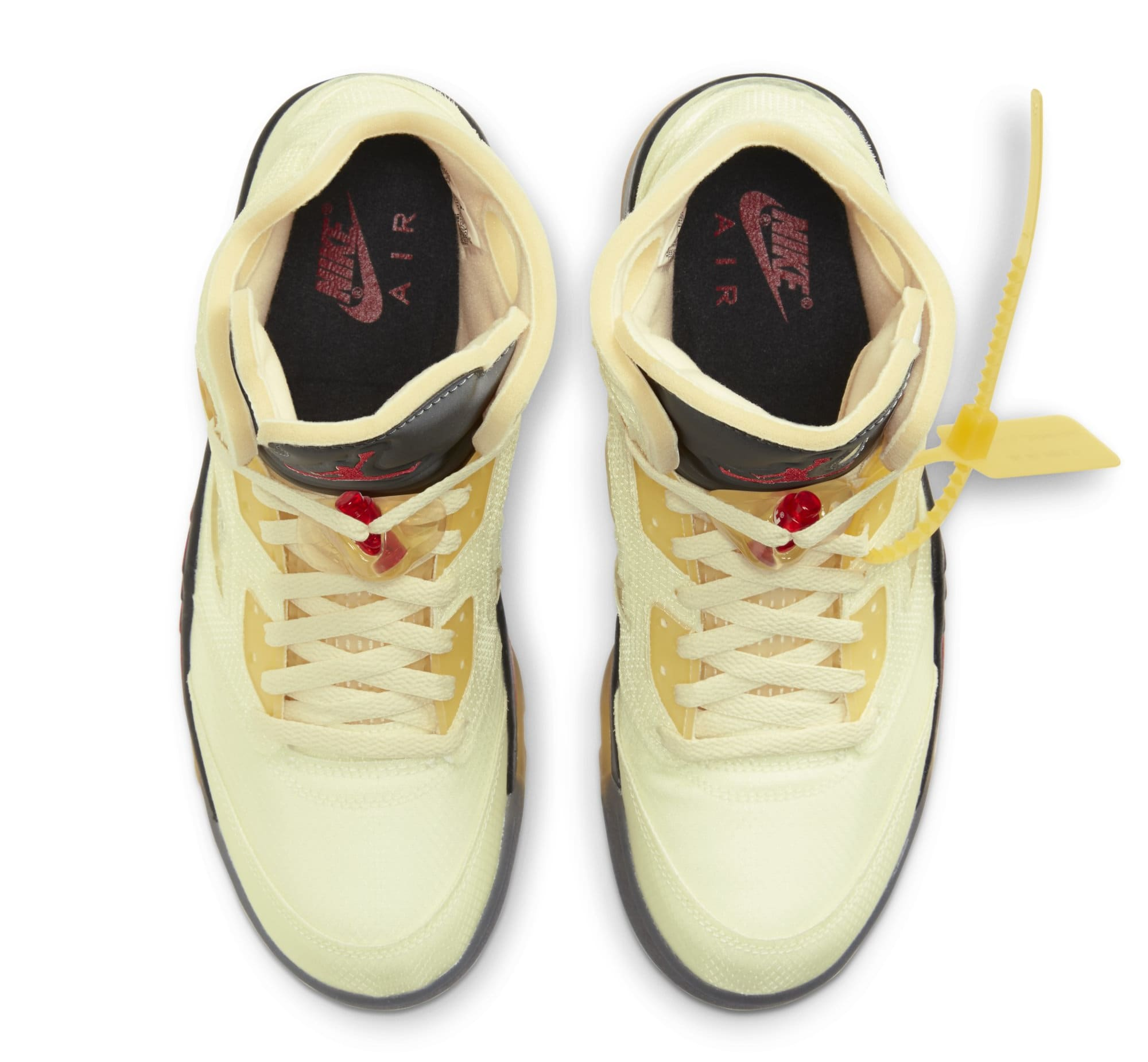 Off-White x Air Jordan 5 'Sail/Fire Red/Muslin/Black' (Top)