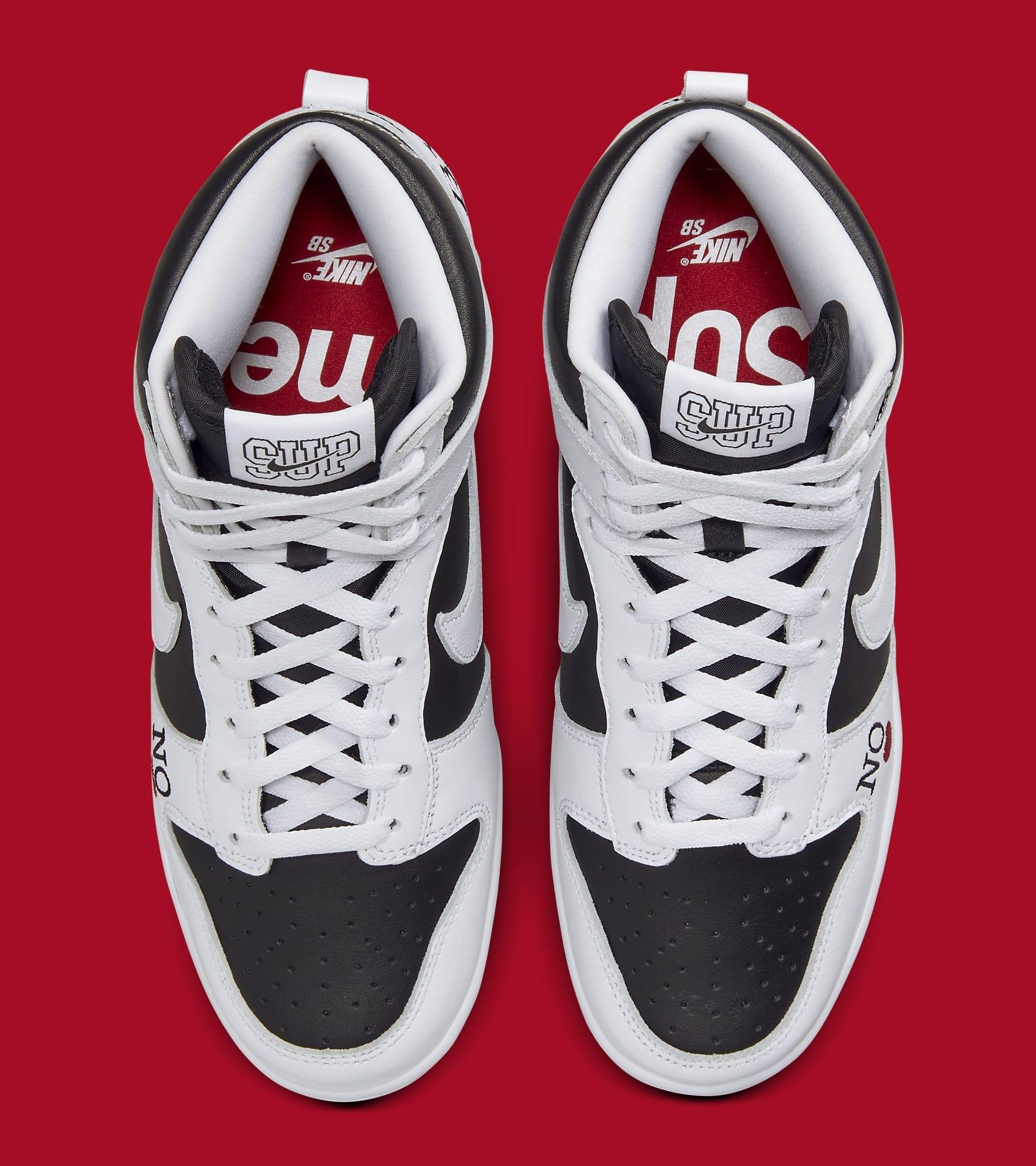 Supreme x Nike SB Dunk High White/Black DN3741-002 Top