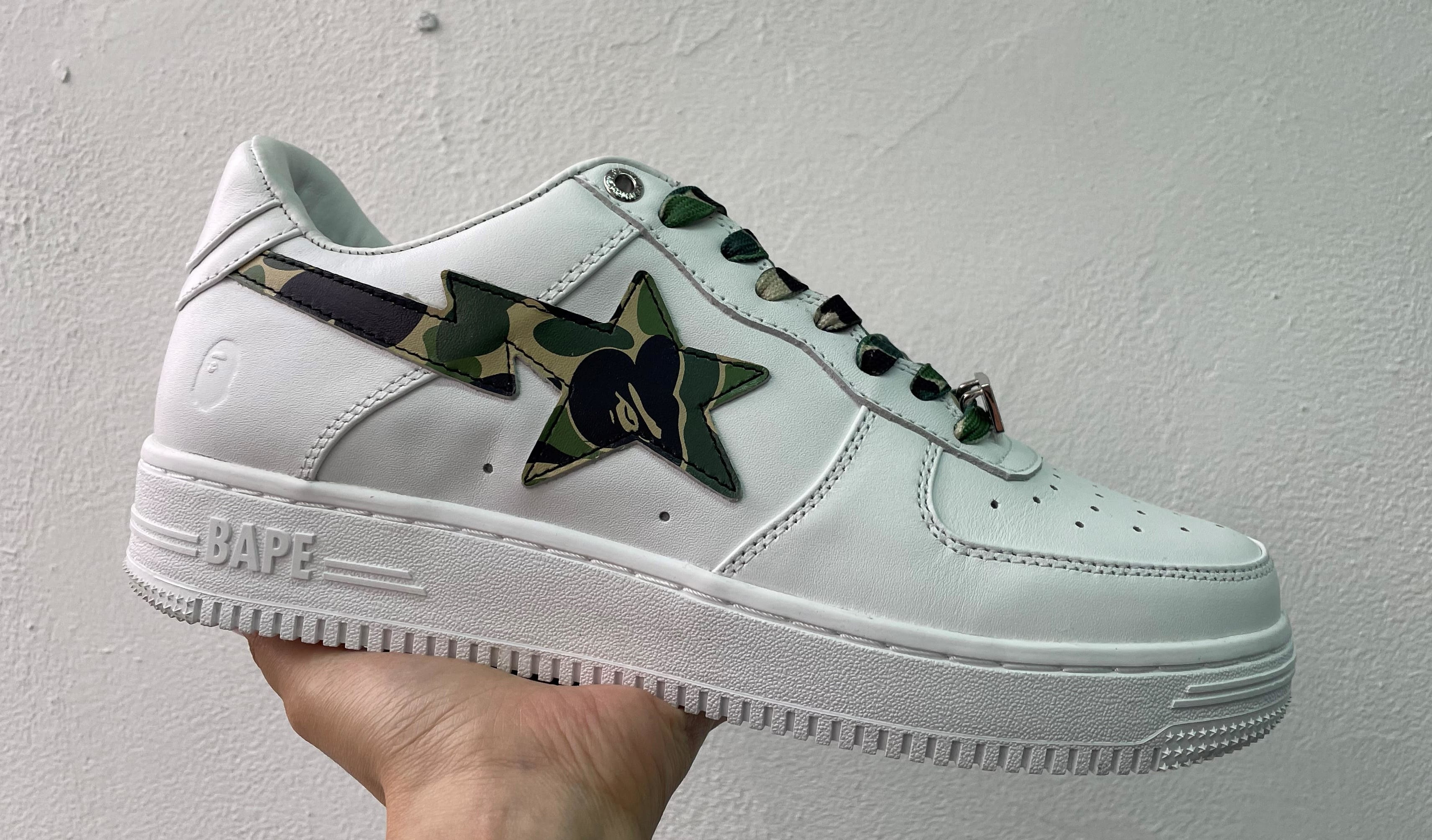 Bape Bape Sta White Green Camo Lateral