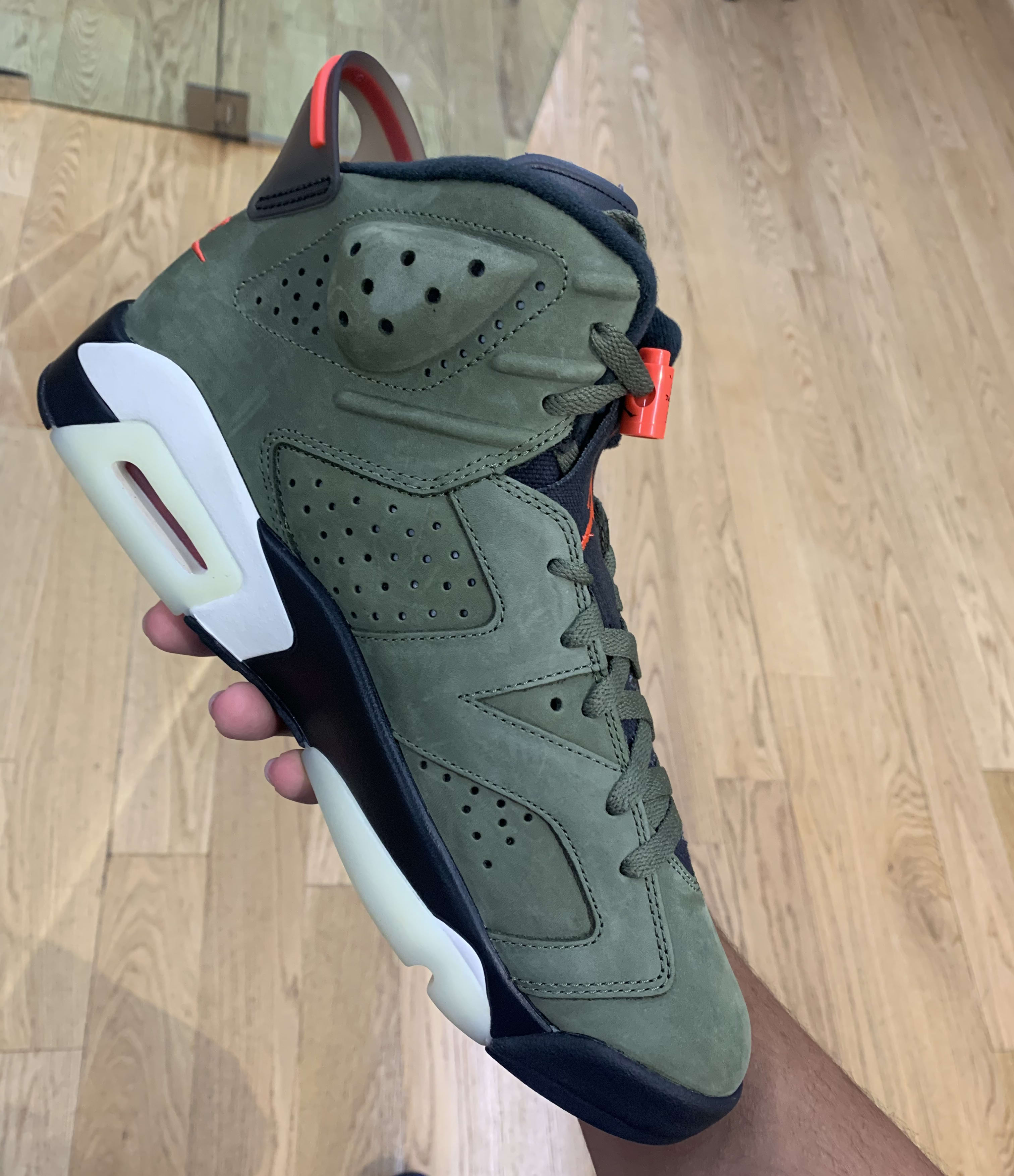 Travis Scott x Air Jordan 6 'Medium Olive/Black/Sail/University Red' CN1084-200 (Medial)