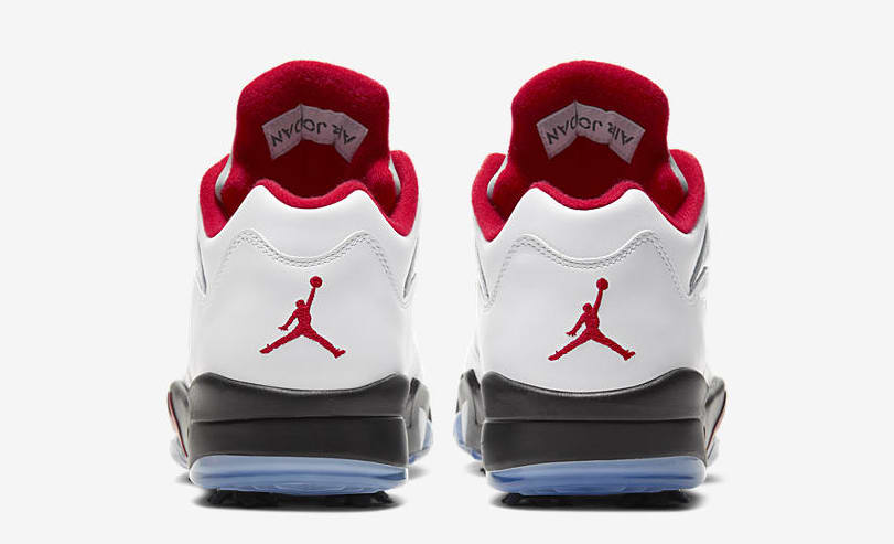 Air Jordan 5 Golf 'White/Fire Red' CD3100-100 (Heel)