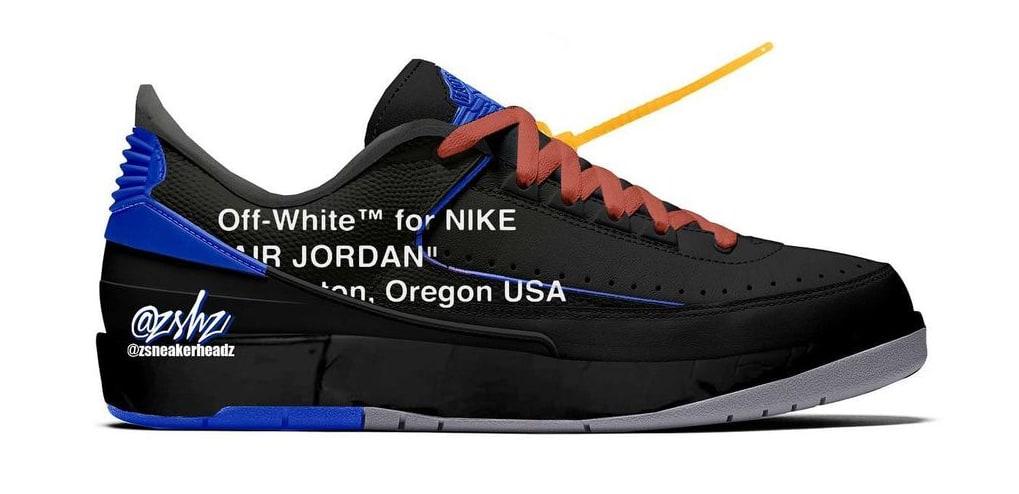Off-White x Air Jordan 2 Low Black/Blue/Grey Mockup
