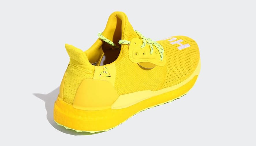 Pharrell x Adidas Solar Hu Glide 'Bright Yellow/Running White/Solar Yellow' EF2379 (Heel)