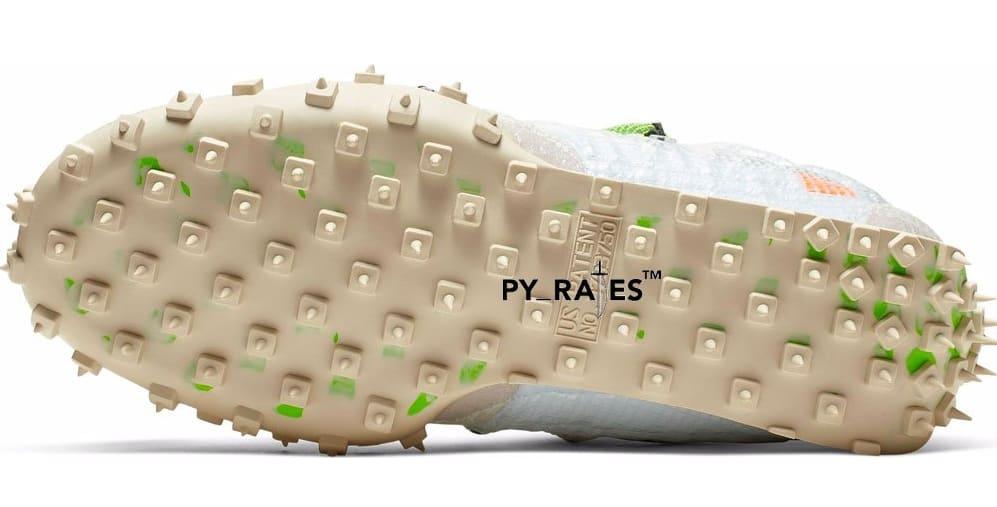 Off-White x Nike Waffle Racer 'White/Black/Electric Green' (Bottom)