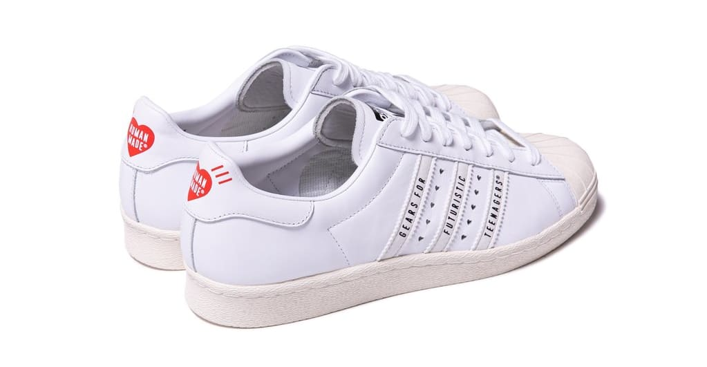 Human Made x Adidas Superstar 80s White Heel