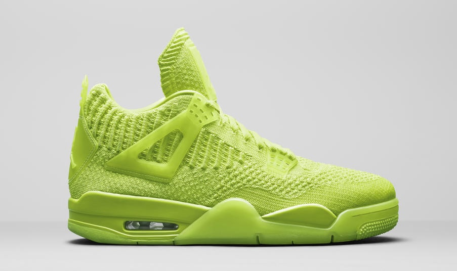 on sale 761ee 4fe49 Image via Nike News Air Jordan 4 Retro Flyknit Neon AQ3559-700 Lateral