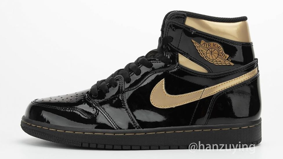 Air Jordan 1 High Black Gold Patent Release Date 555088-032 Profile Left