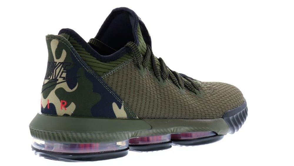 Nike LeBron 16 Low Camo Release Date CI2668-300 Heel Angle