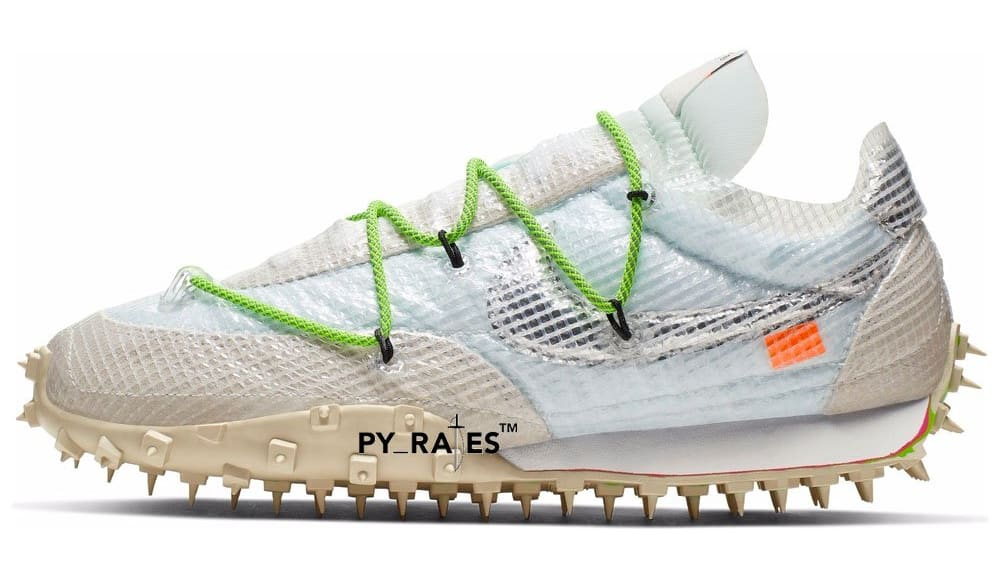 Off-White x Nike Waffle Racer 'White/Black/Electric Green' (Lateral)