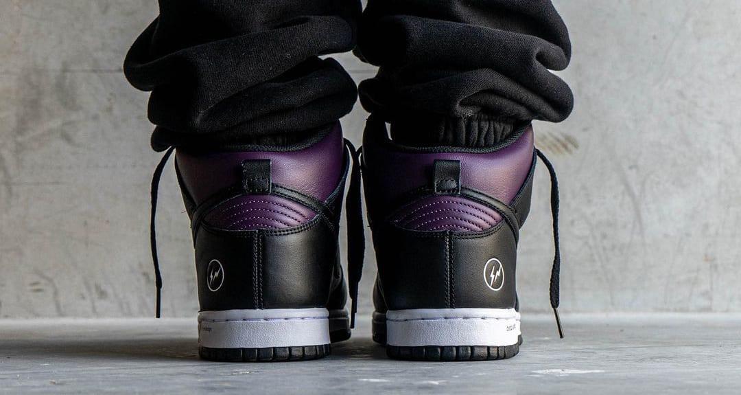 Fragment x Nike Dunk High Wine/Black/White 'Beijing' (On-Foot Heel)