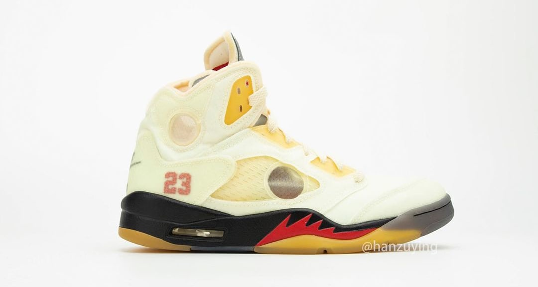 Off-White x Air Jordan 5 Retro 'Sail' DH8565-100 Lateral