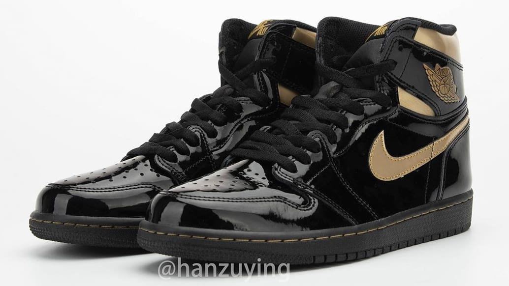 Air Jordan 1 High Black Gold Patent Release Date 555088-032 Pair Left