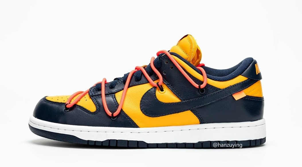 Off-White x Nike Dunk Low 'University Gold/Midnight Navy' CT0856-700 (Left Shoe)