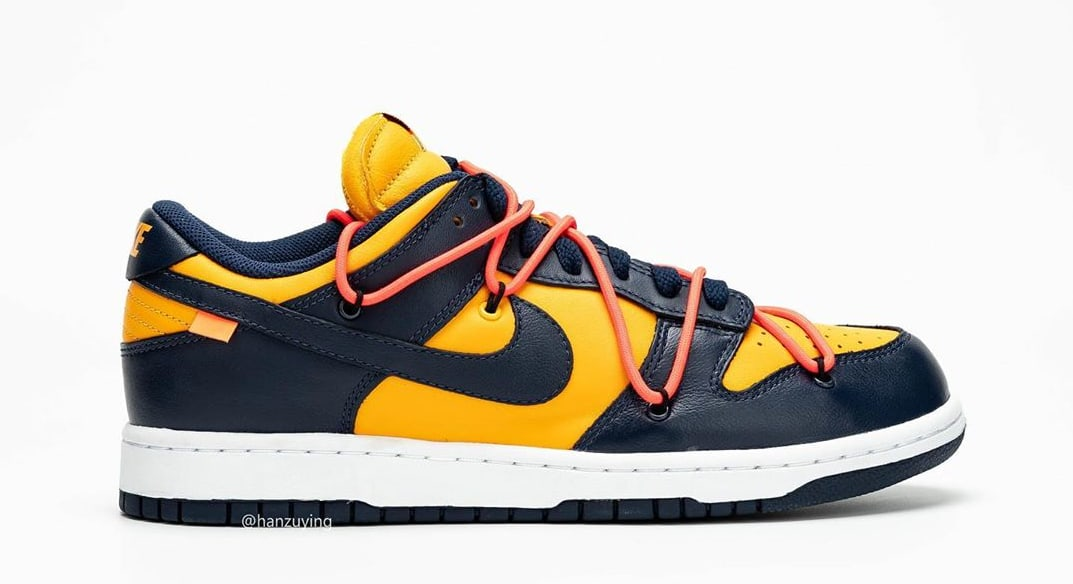 Off-White x Nike Dunk Low 'University Gold/Midnight Navy' CT0856-700 (Right Shoe)