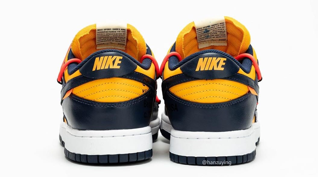 Off-White x Nike Dunk Low 'University Gold/Midnight Navy' CT0856-700 (Heel)