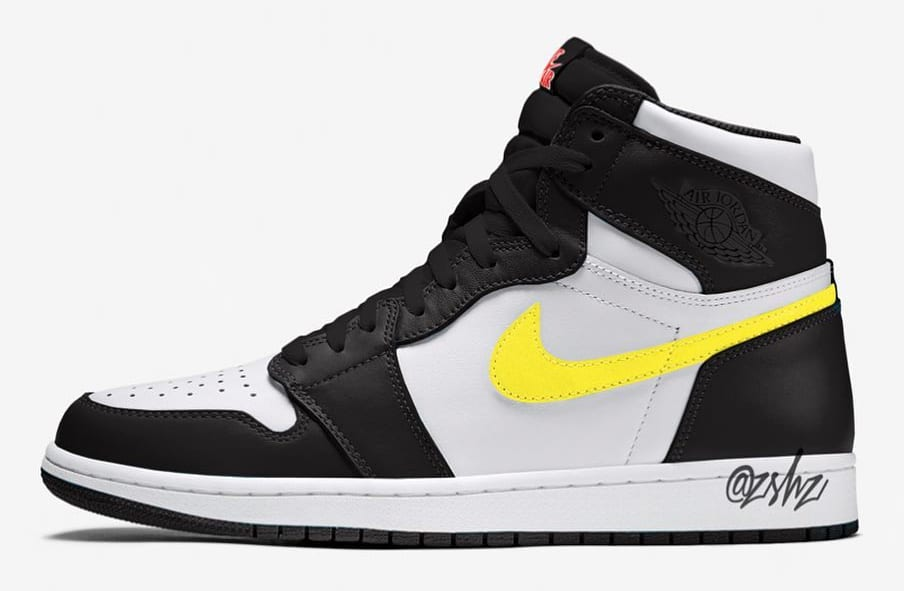 Air Jordan 1 Retro High OG White/Black-Dynamic Yellow-University Red Mock-Up