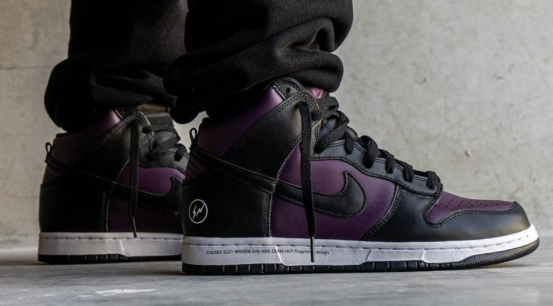 Fragment x Nike Dunk High Wine/Black/White 'Beijing' (On-Foot Lateral)