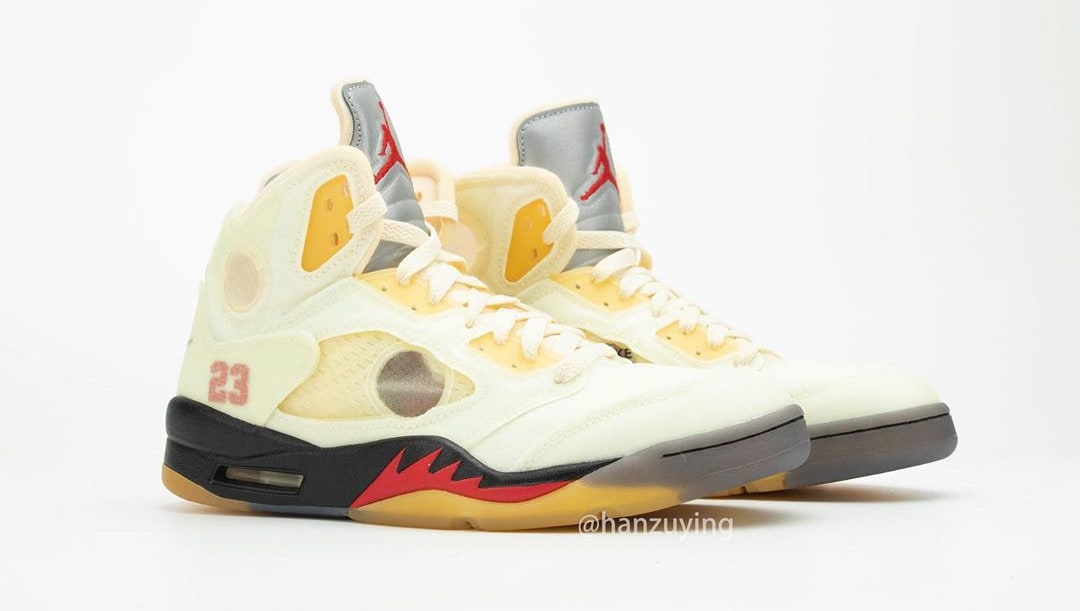 Off-White x Air Jordan 5 Retro 'Sail' DH8565-100 Pair