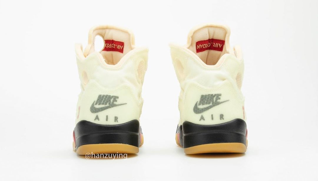 Off-White x Air Jordan 5 Retro 'Sail' DH8565-100 Heel