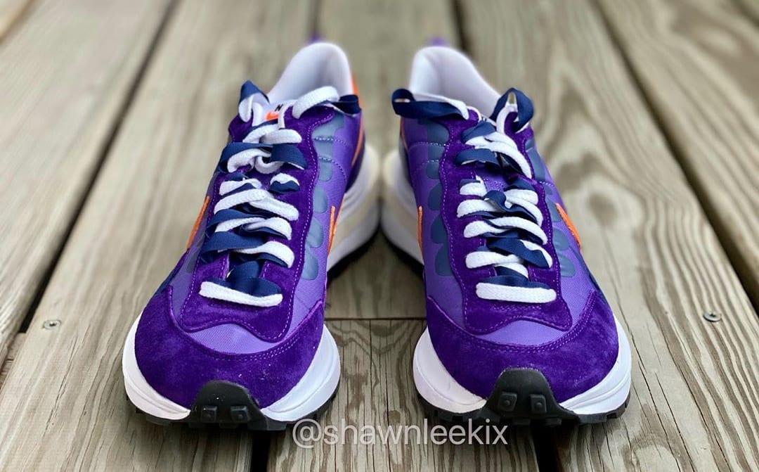 Sacai x Nike Vaporwaffle 'Dark Iris/Campfire Orange-White' Front