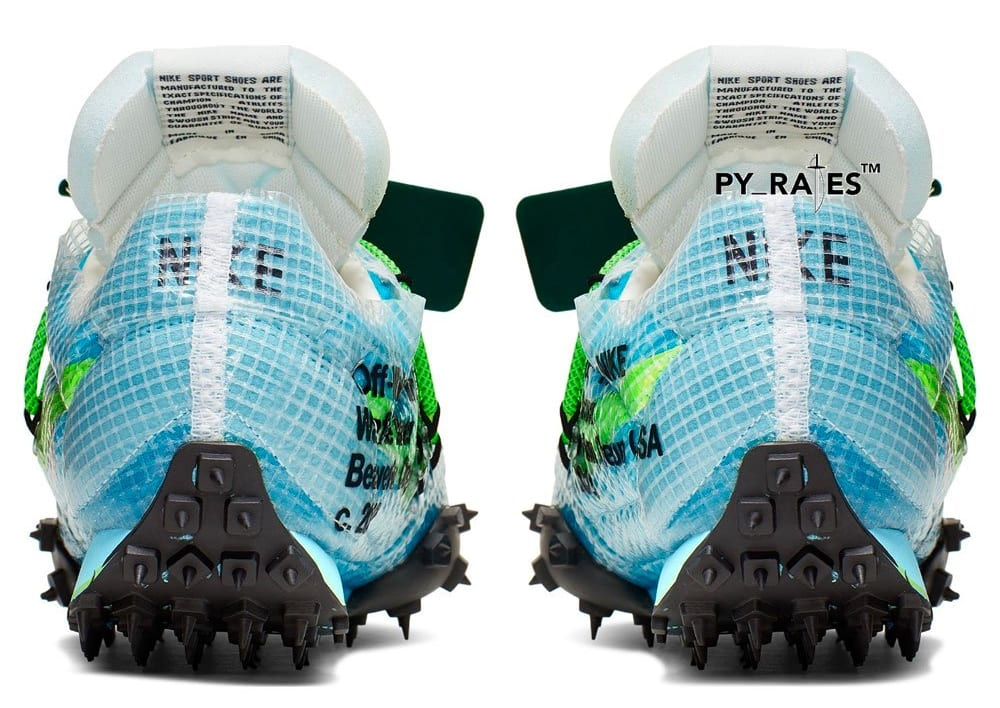 Off-White x Nike Waffle Racer W 'Vivid Sky/Electric Green' (Heel)