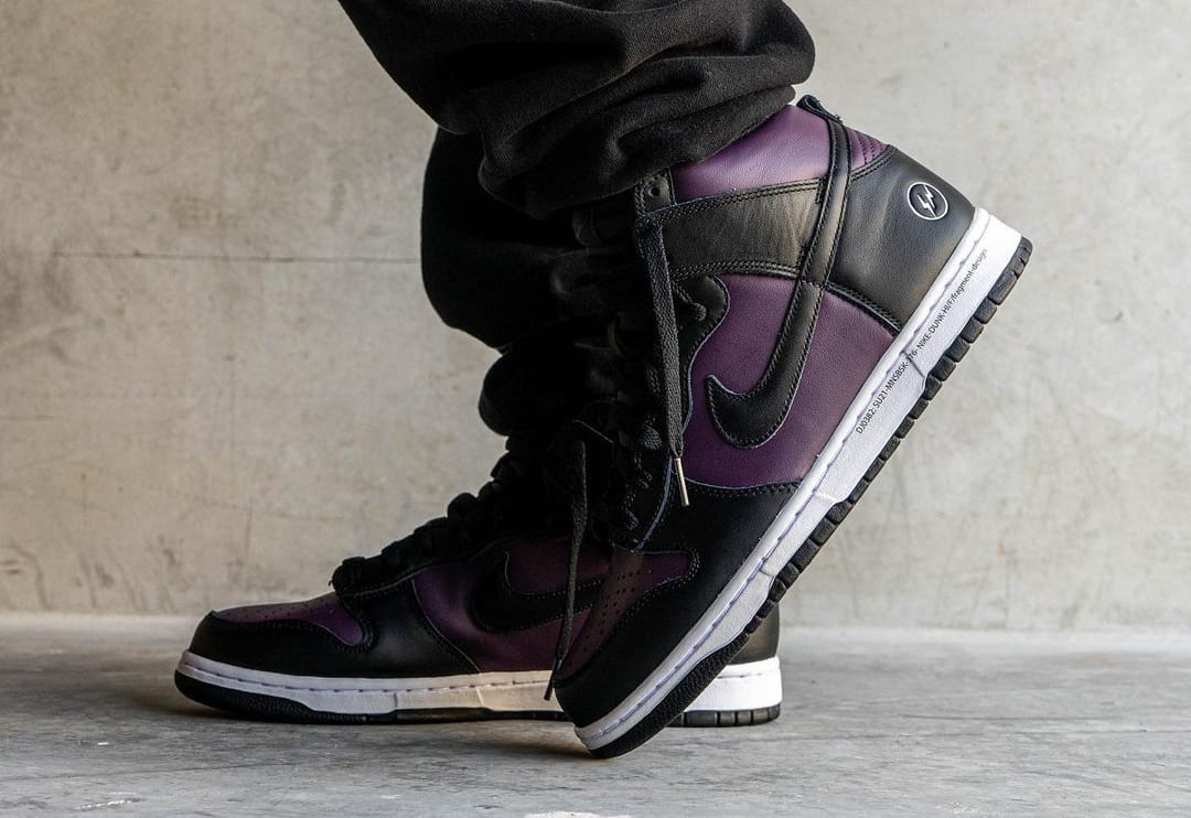 Fragment x Nike Dunk High Wine/Black/White 'Beijing' (On-Foot Toe)