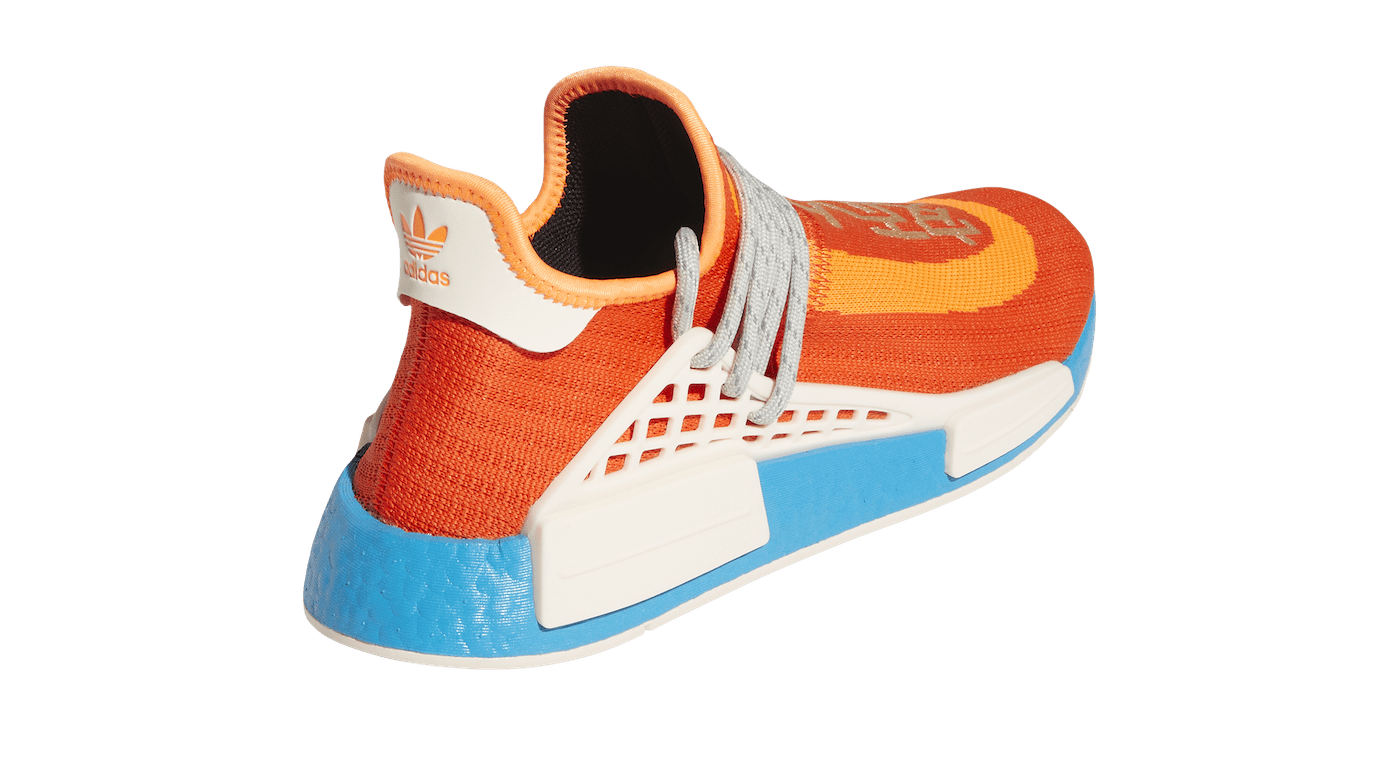 Pharrell x Adidas NMD Hu 'Bold Orange' H67401 Heel