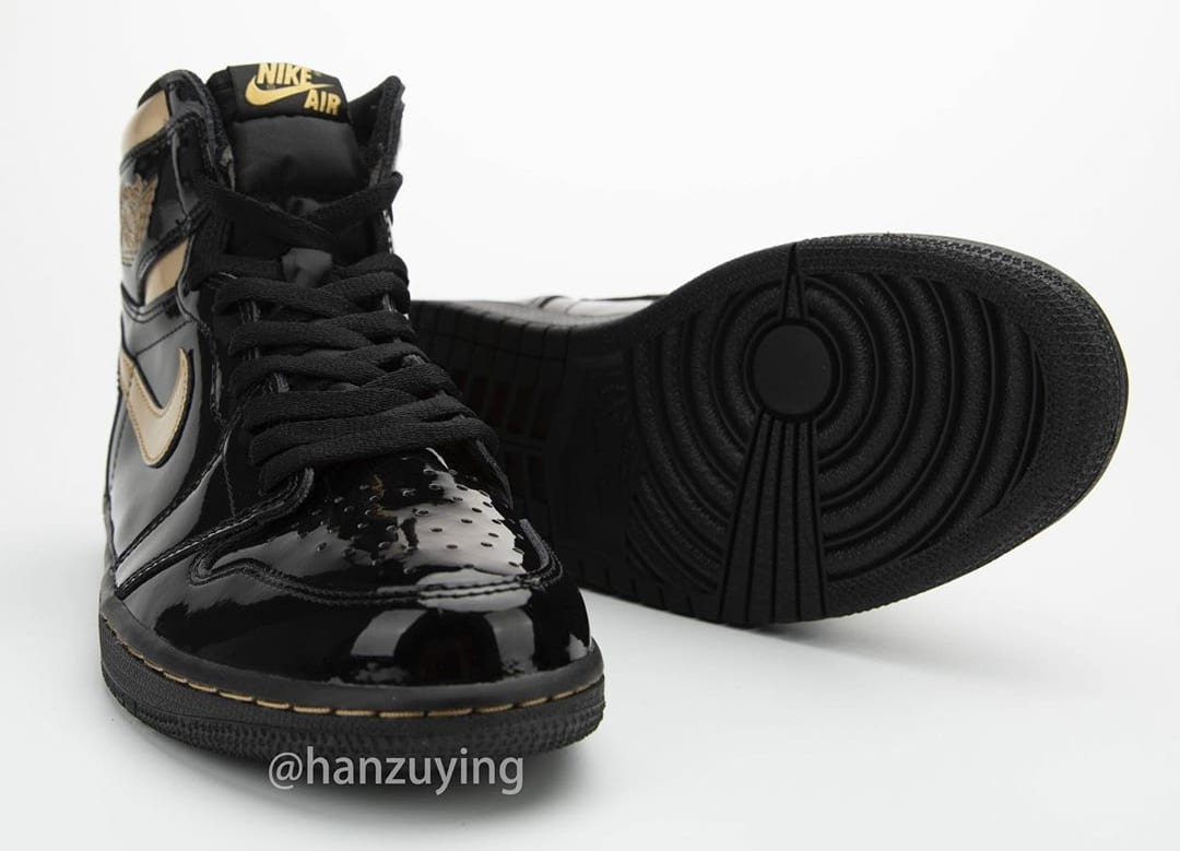 Air Jordan 1 High Black Gold Patent Release Date 555088-032 Front