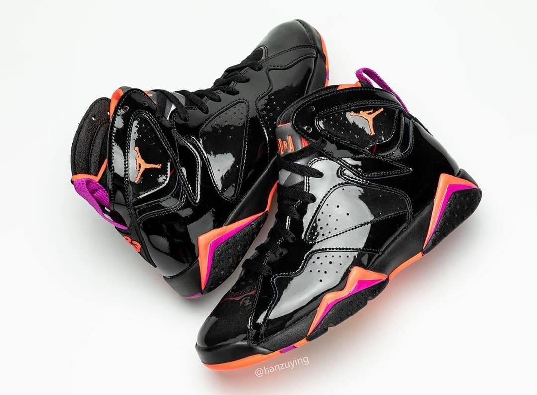 Air Jordan 7 WMNS 'Black Patent Leather' 313358-006 (Pair)